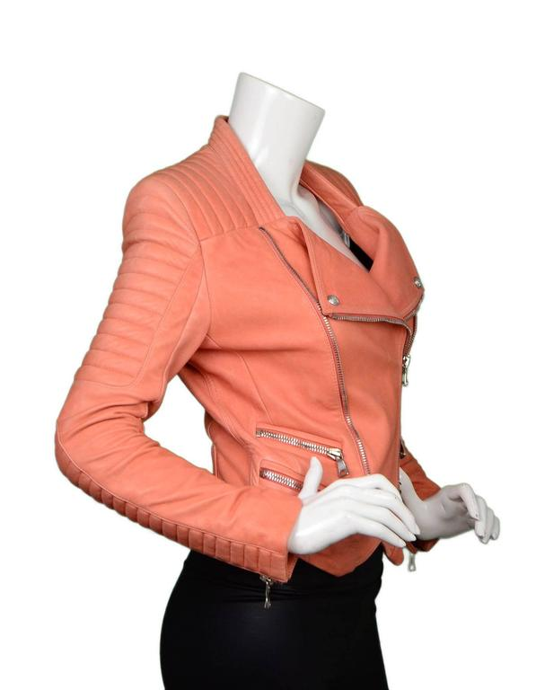 Balmain Salmon Padded Leather Moto Jacket sz FR36 2