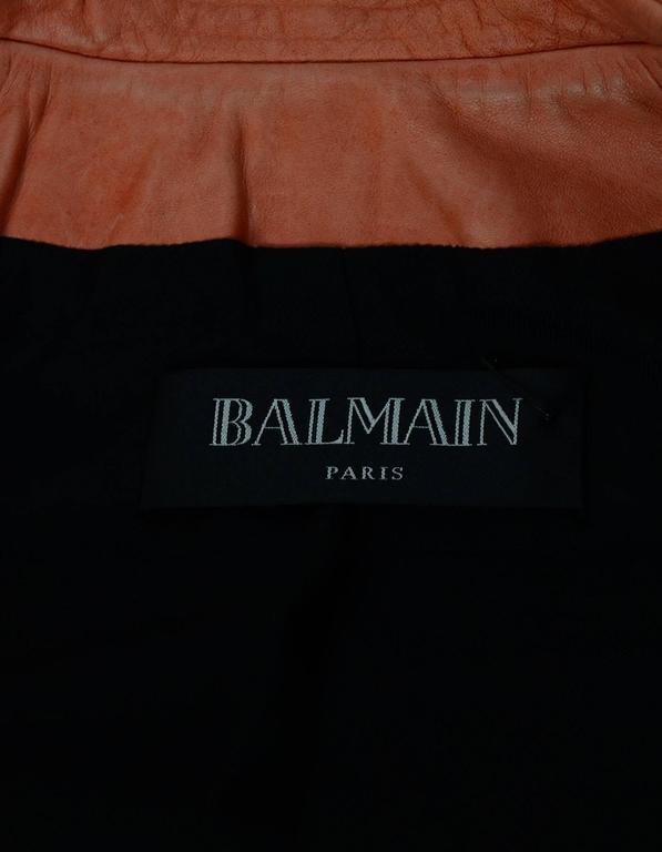 Balmain Salmon Padded Leather Moto Jacket sz FR36 4