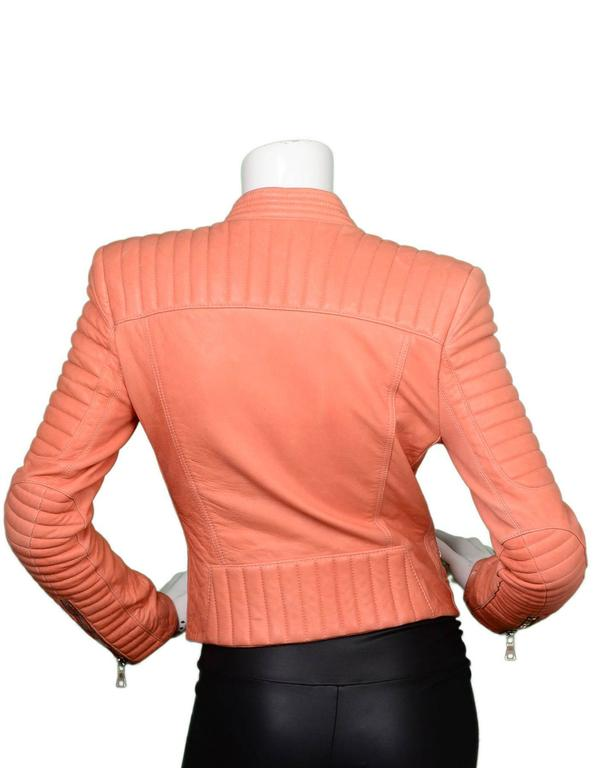 Orange Balmain Salmon Padded Leather Moto Jacket sz FR36 For Sale