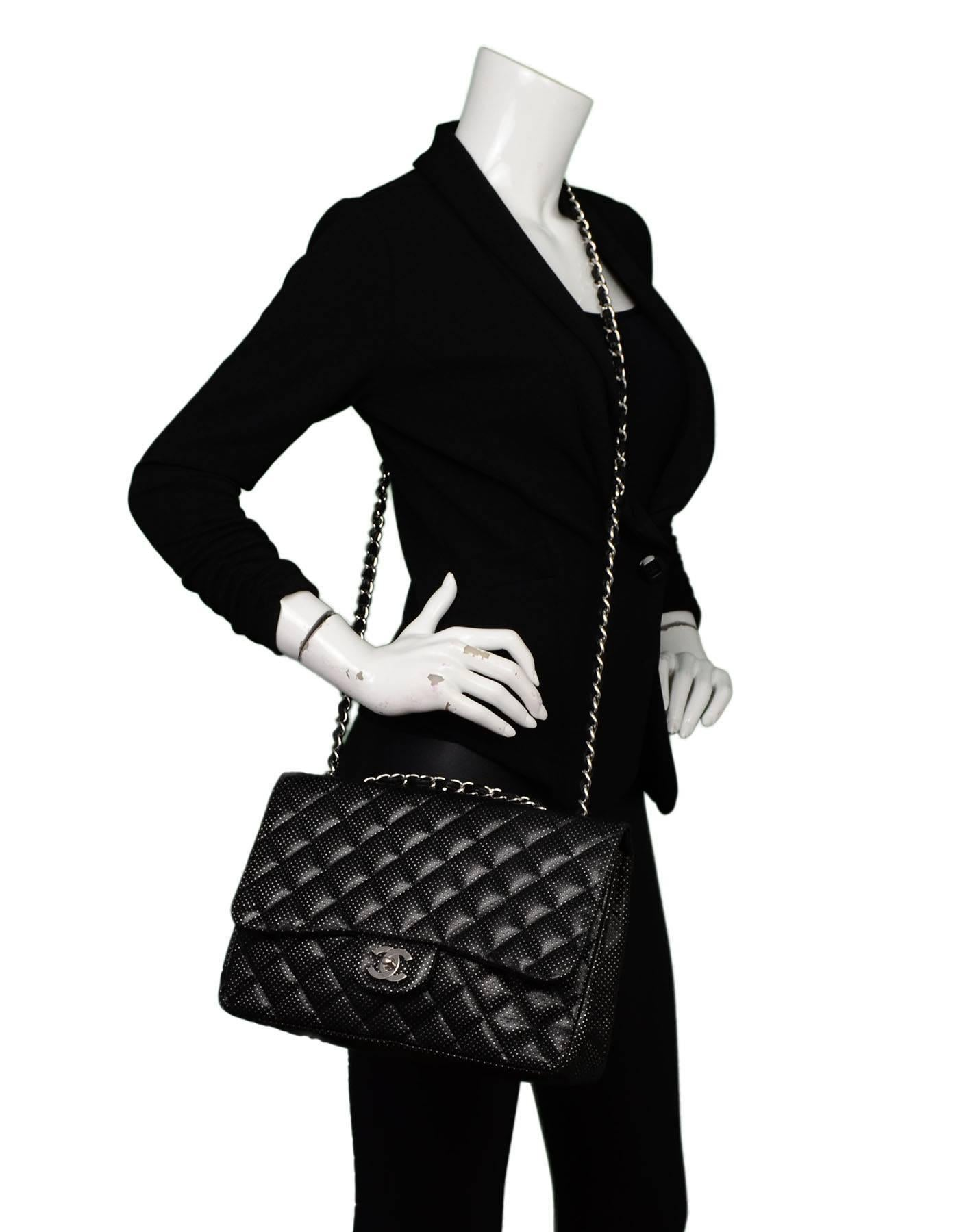 e38549d18a6b Chanel Black Perforated Jumbo Quilted Classic Flap Bag SHW For Sale at  1stdibs