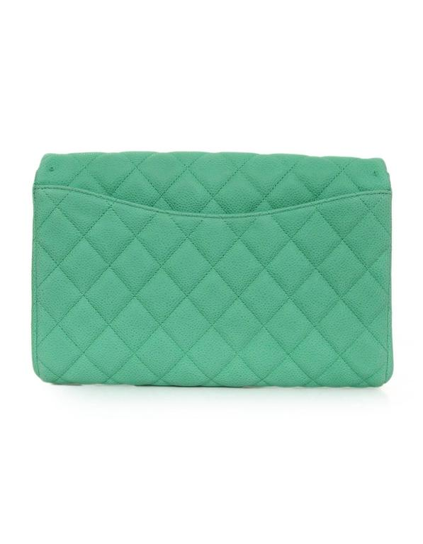 ae8cf73c439289 Women's Chanel Seafoam Green Quilted Caviar Leather Timeless Clutch Bag CWC  rt. $3,100 For Sale