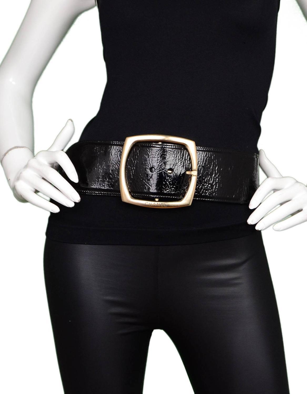 chanel black patent wide belt sz eu95 ghw for sale at 1stdibs