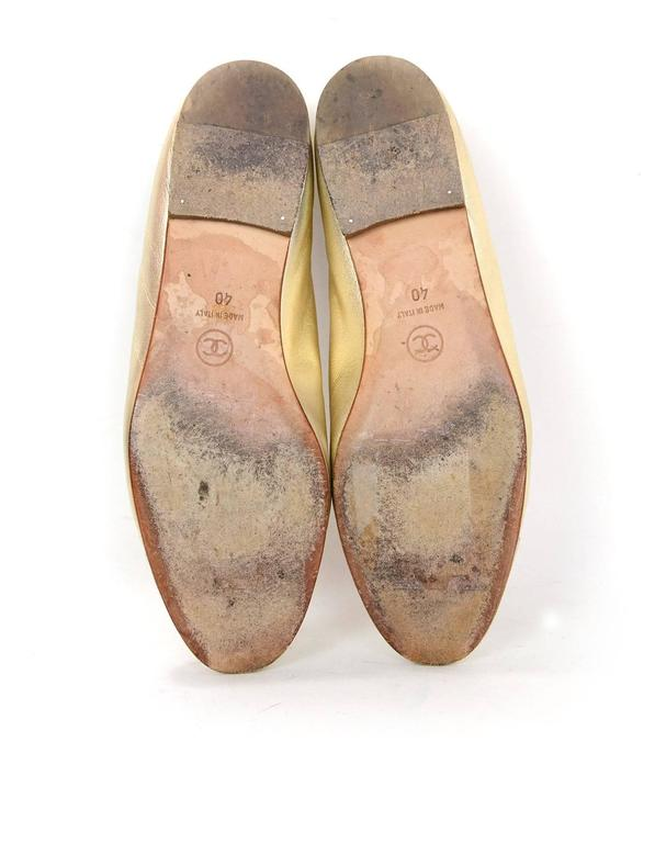 Chanel Gold Leather Cap Toe Ballet Flats Sz 40 At 1stdibs