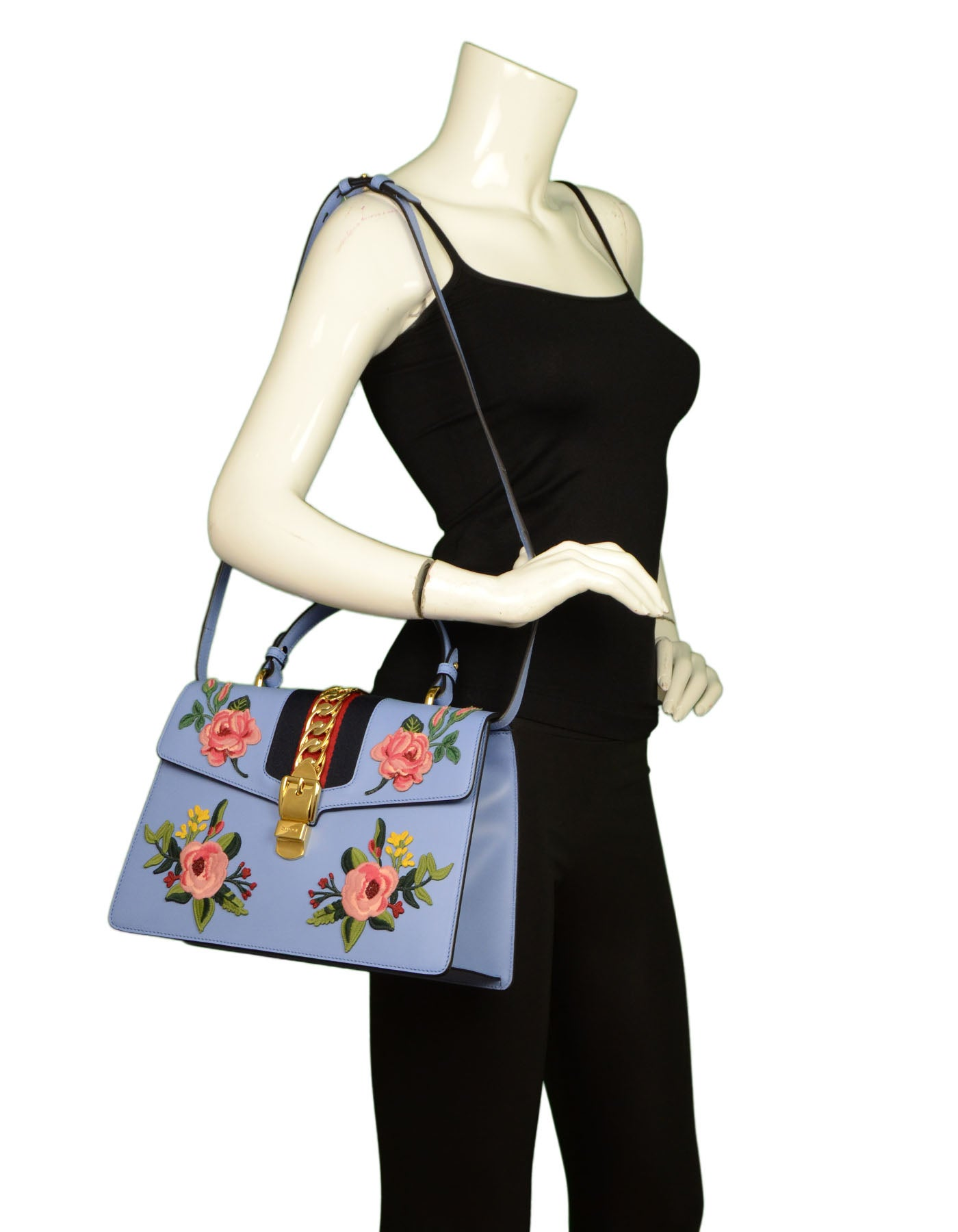 0ea8ac102d032b Gucci 2016 Blue Leather Floral Embroidered Sylvie Handle Bag For Sale at  1stdibs