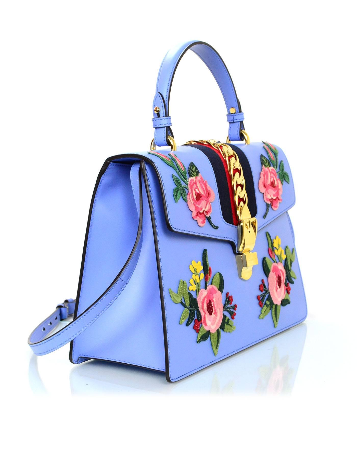 10db56d153fc Gucci 2016 Blue Leather Floral Embroidered Sylvie Handle Bag For Sale at  1stdibs