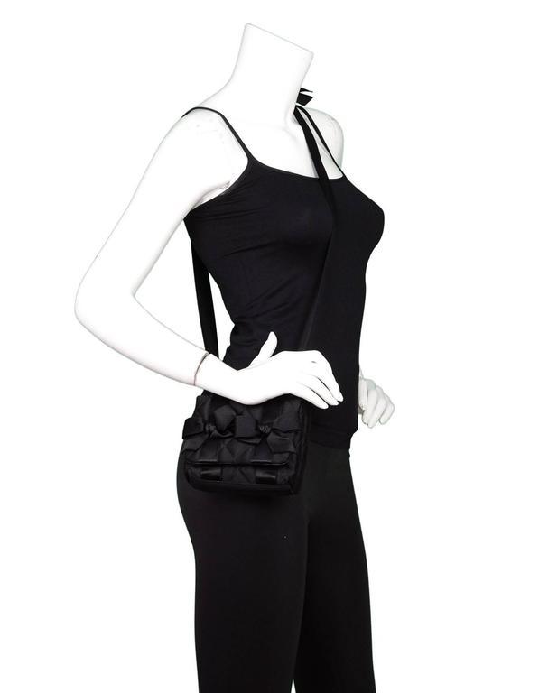 Chanel Vintage Black Satin Bow Crossbody Bag 2