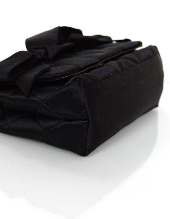 Chanel Vintage Black Satin Bow Crossbody Bag 5