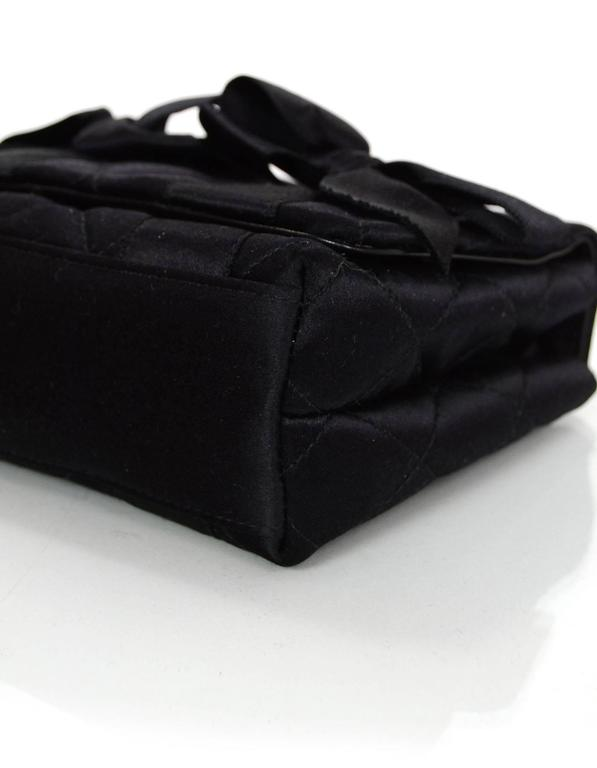 Chanel Vintage Black Satin Bow Crossbody Bag 6