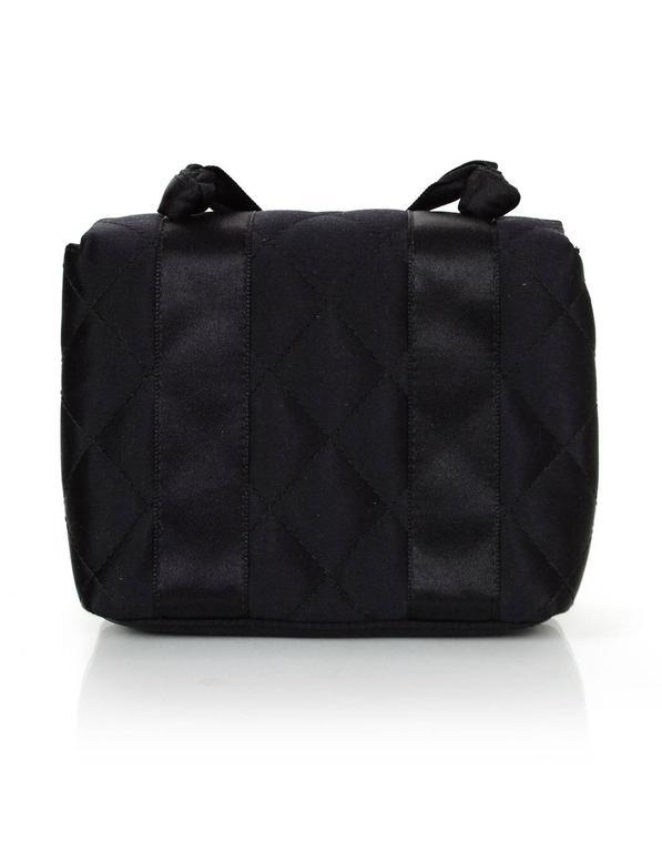 Chanel Vintage Black Satin Bow Crossbody Bag 4