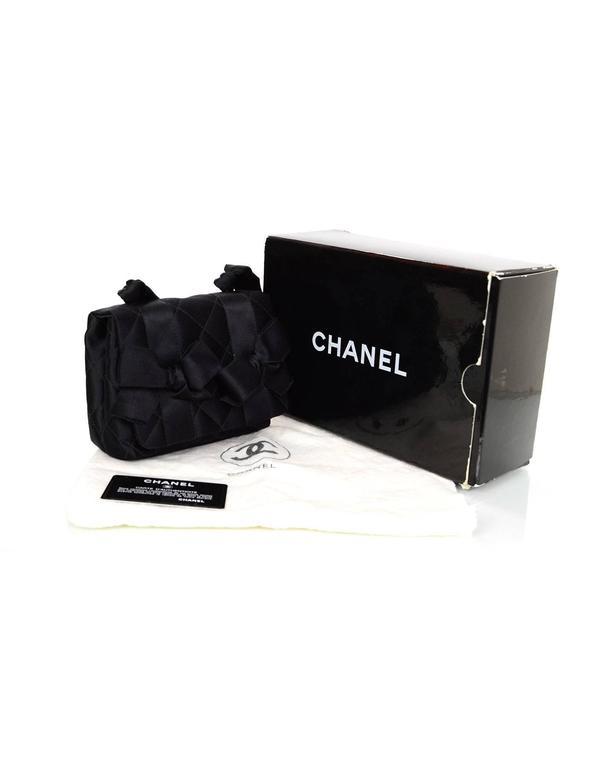 Chanel Vintage Black Satin Bow Crossbody Bag 10