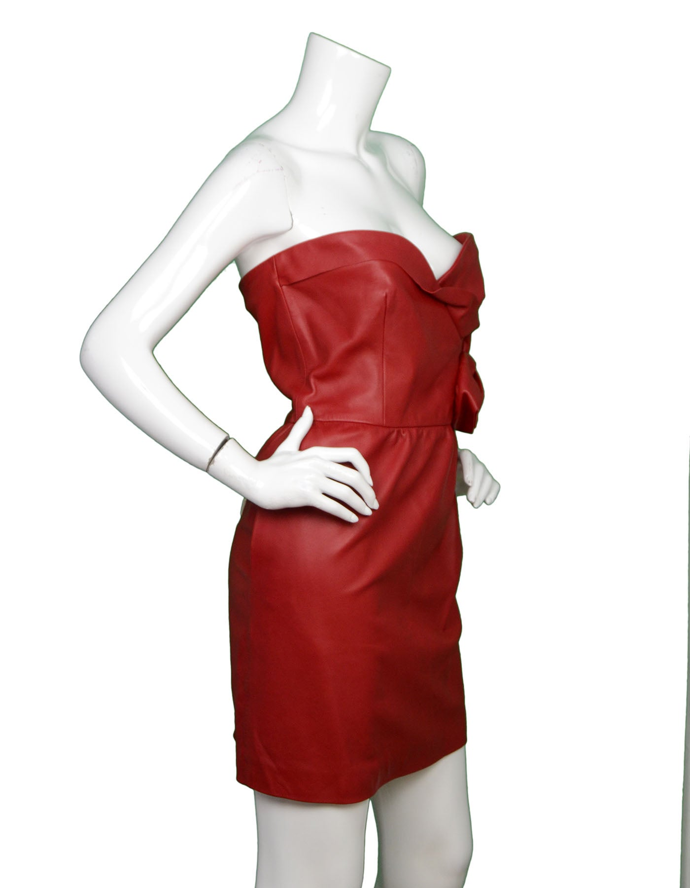 727d4d04d76f Valentino NWT Red Leather Strapless Dress w/ Rose rt. $4,200 For Sale at  1stdibs
