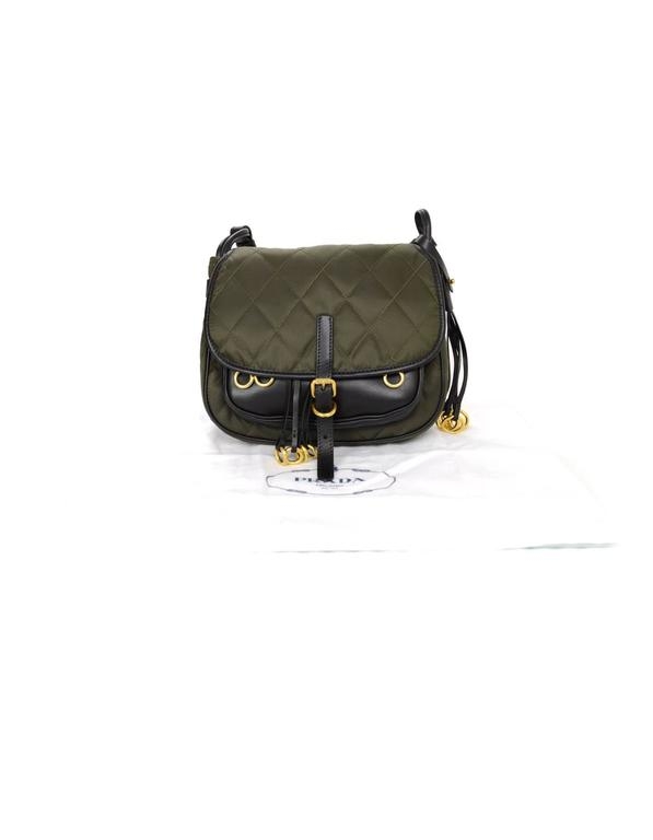 00c3a777bae Prada 2016 Army Green Nylon & Leather Quilted Corsaire Messenger Crossbody  Bag For Sale 4