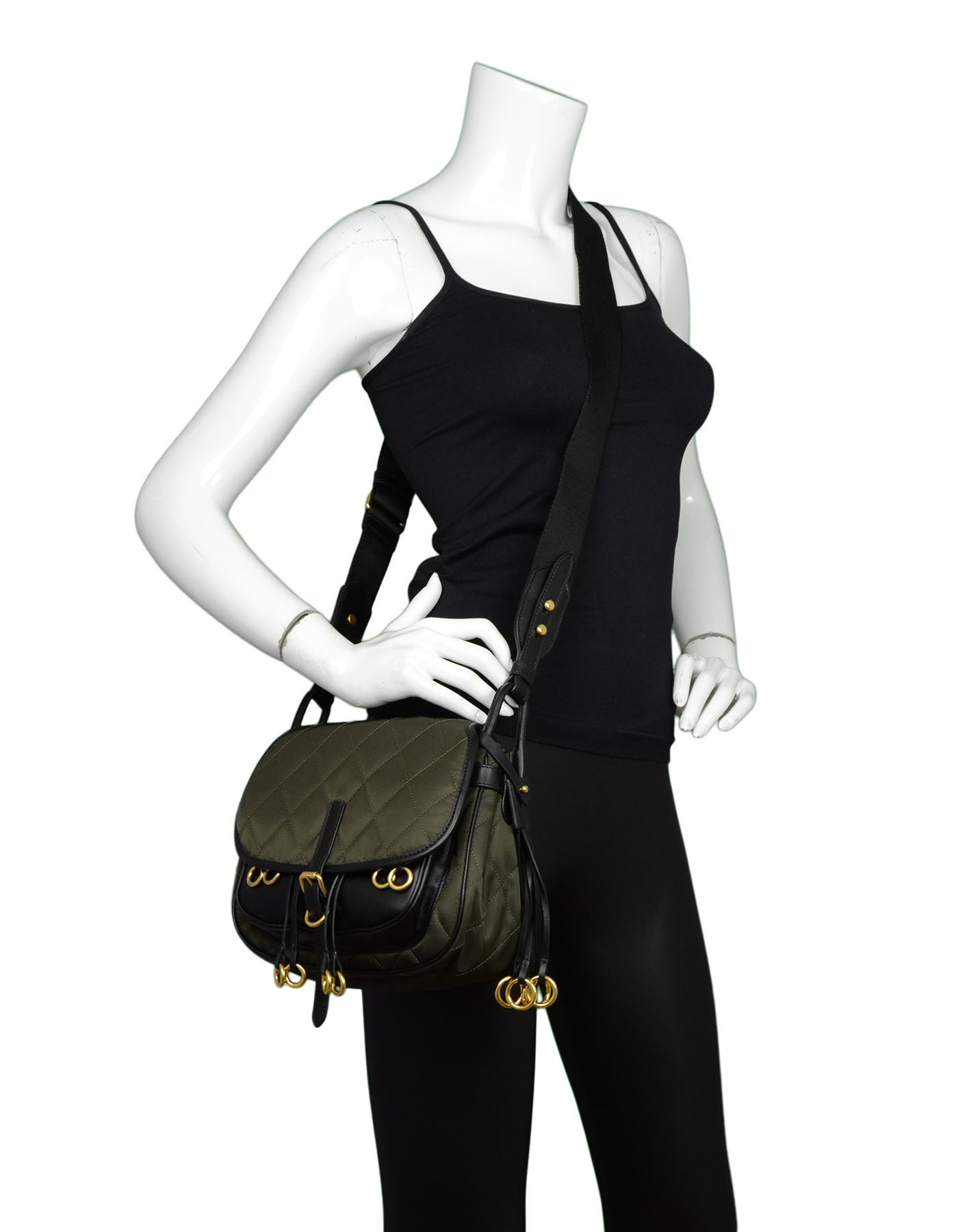 fb9938a9faa Prada 2016 Army Green Nylon and Leather Quilted Corsaire Messenger  Crossbody Bag at 1stdibs