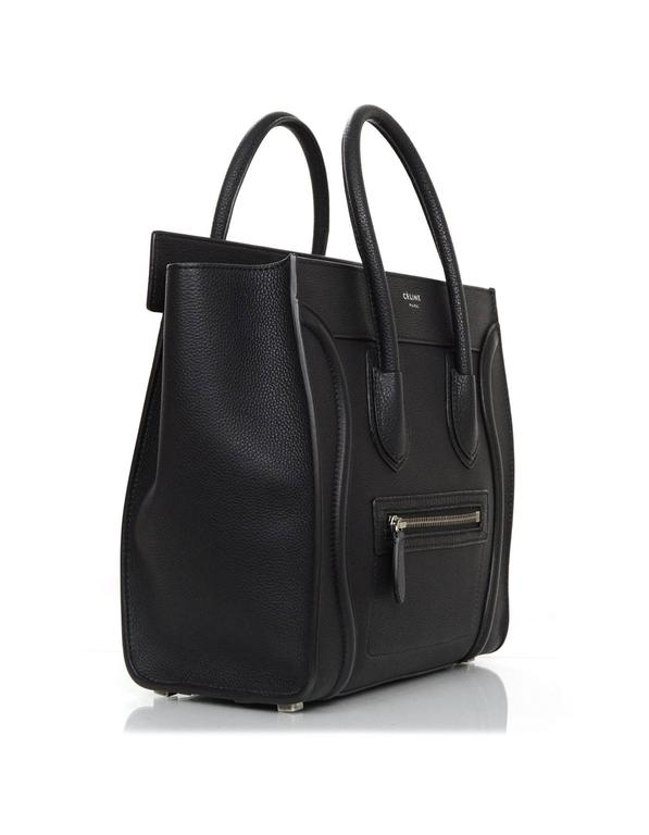 Celine Black Drummed Calfskin Micro Luggage Tote In Excellent Condition For New York