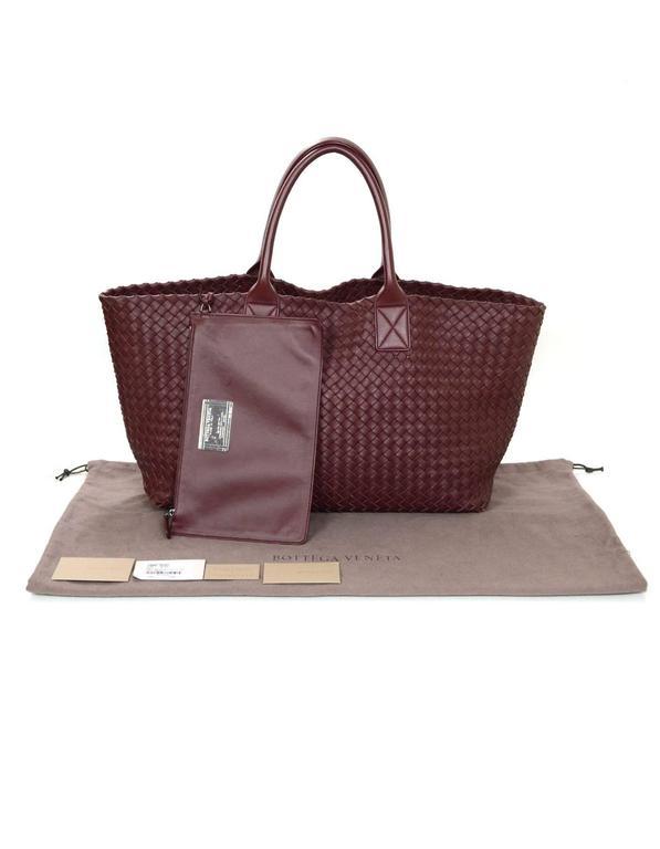 a32ce9a2de2a Bottega Veneta Barolo Burgundy Hand Woven Leather Medium Cabat Tote Bag   7