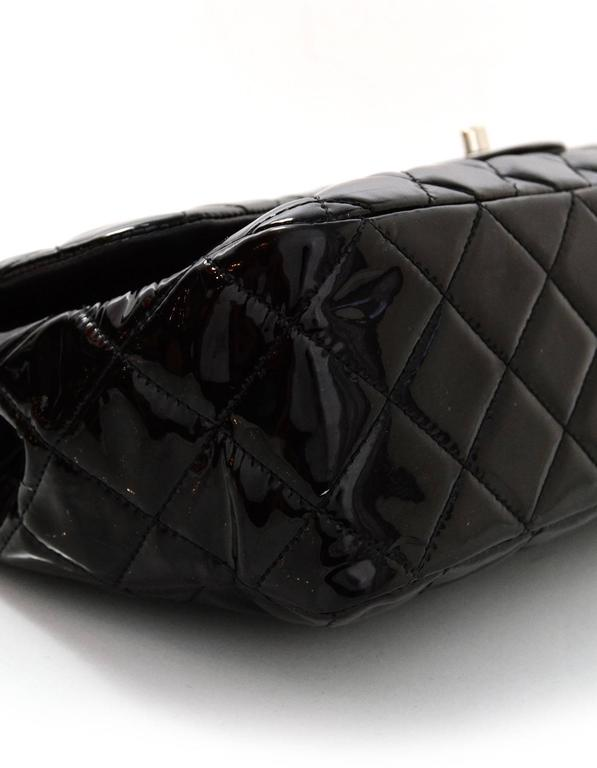 Chanel Black Quilted Patent Single Flap Jumbo Classic Flap Bag 3
