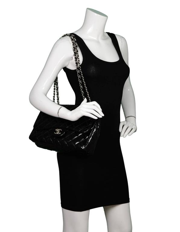 Chanel Black Quilted Patent Single Flap Jumbo Classic Flap Bag 9