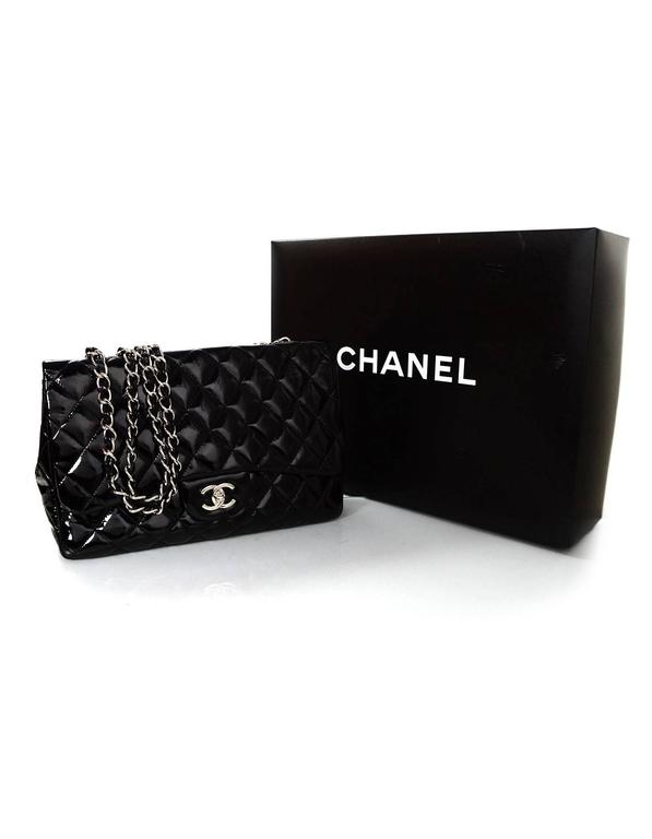 Chanel Black Quilted Patent Single Flap Jumbo Classic Flap Bag 8