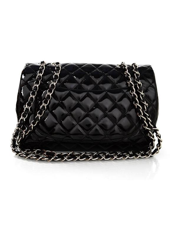 Chanel Black Quilted Patent Single Flap Jumbo Classic Flap Bag 2