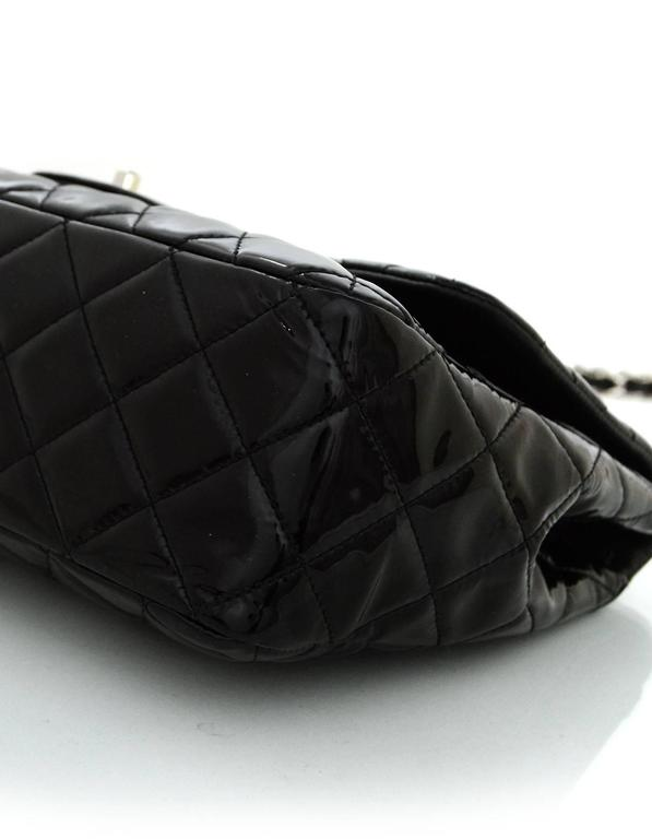Chanel Black Quilted Patent Single Flap Jumbo Classic Flap Bag 4