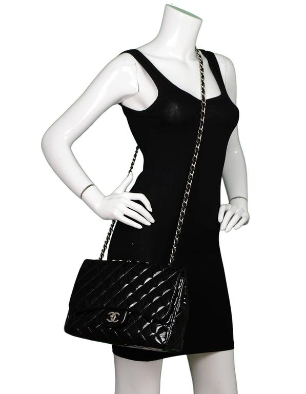 Chanel Black Quilted Patent Single Flap Jumbo Classic Flap Bag 10