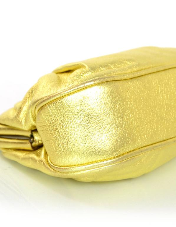 Women's Chanel Metallic Gold Leather Mini Evening Bag GHW For Sale
