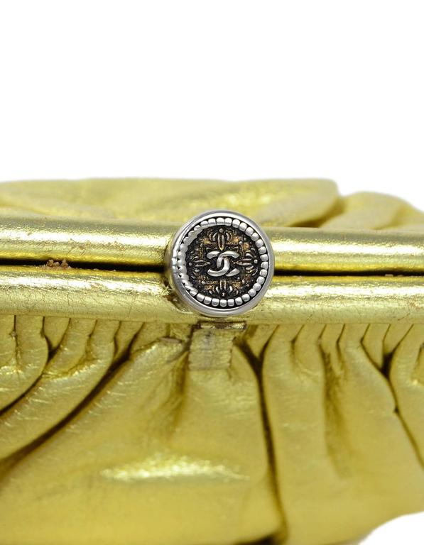 Chanel Metallic Gold Leather Mini Evening Bag GHW For Sale 3