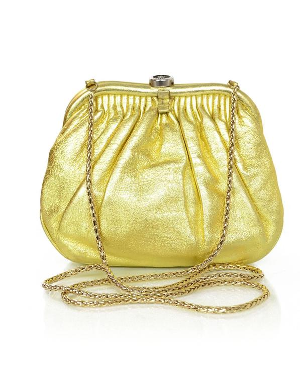 Chanel Metallic Gold Leather Mini Evening Bag GHW In Good Condition For Sale In New York, NY