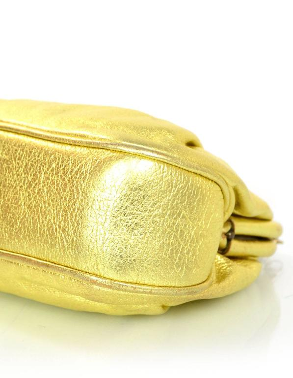 Chanel Metallic Gold Leather Mini Evening Bag GHW For Sale 1