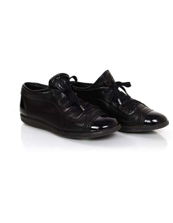 Women's Chanel Black Leather CC Sneakers sz 38 w/DB For Sale