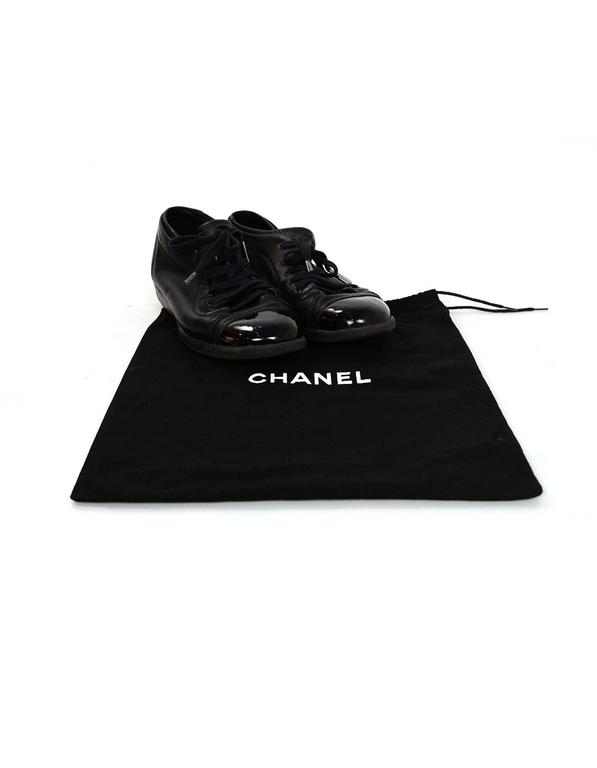 Chanel Black Leather CC Sneakers sz 38 w/DB For Sale 3