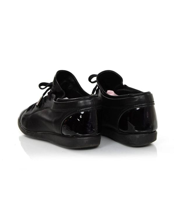 Chanel Black Leather CC Sneakers sz 38 w/DB 5