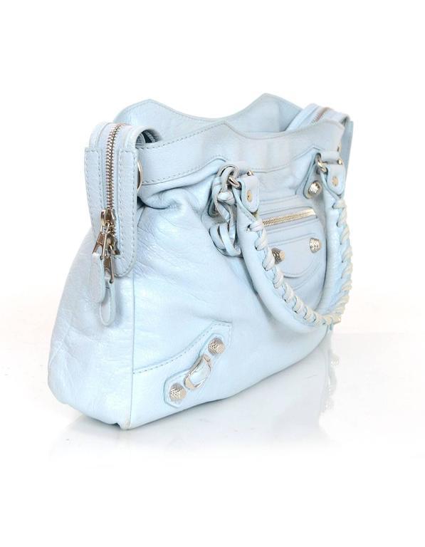 Balenciaga Baby Blue Leather Town Crossbody Messenger Bag