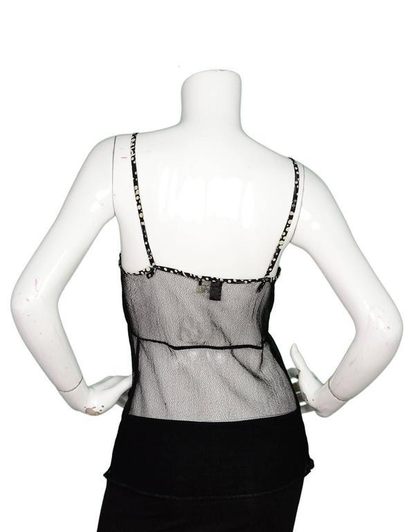 Women's Chanel Black Mesh Spaghetti Strap Camisole Insert sz 42 For Sale