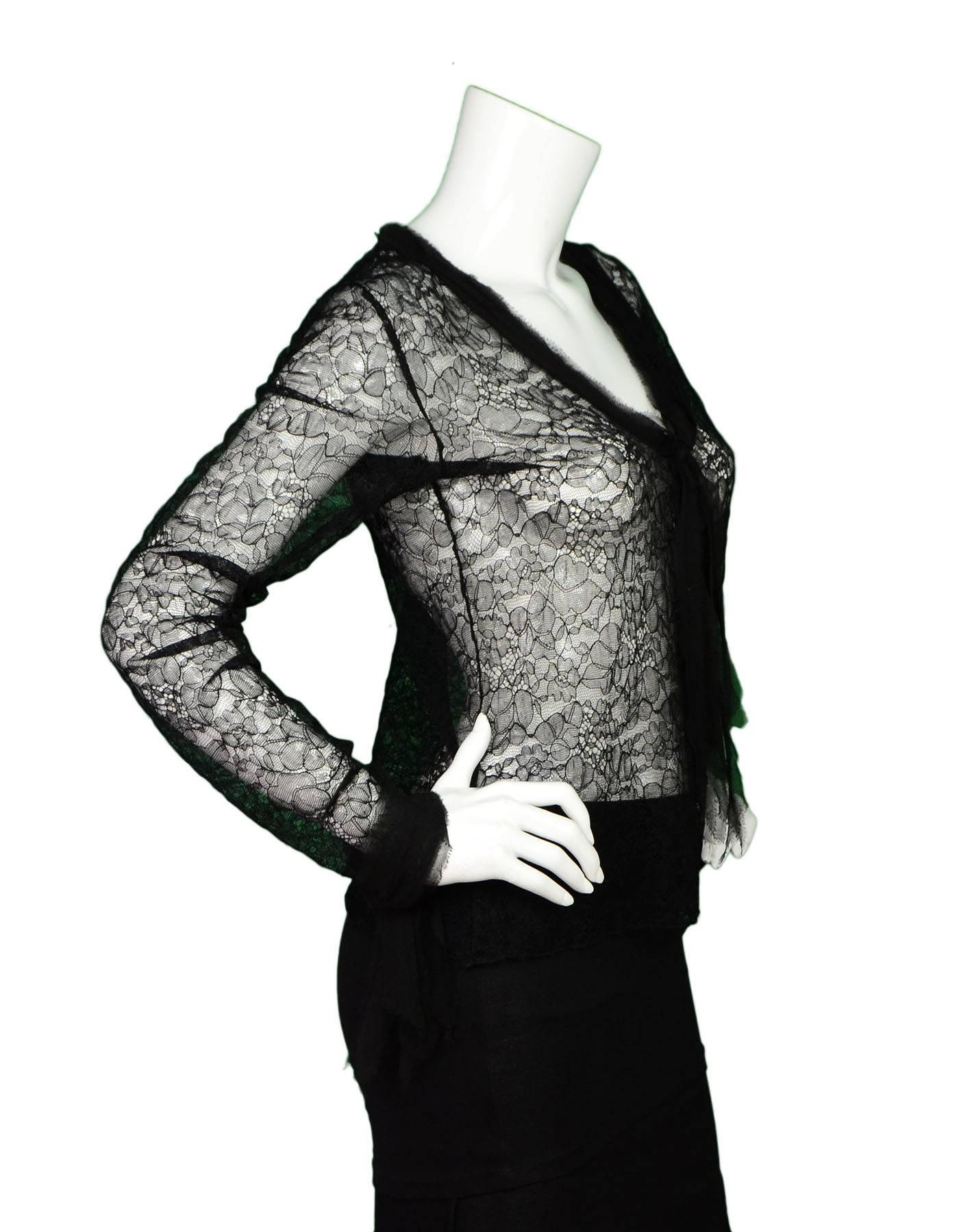 43dc6defbd7 Chanel Black Lace Long Sleeve Blouse sz M For Sale at 1stdibs