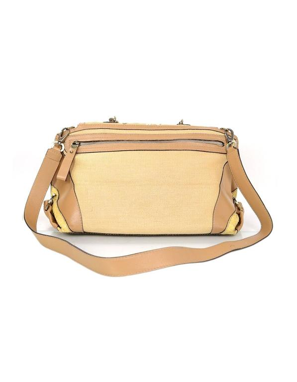 Salvatore Ferragamo Beige & Tan Sofia Satchel Bag BHW In Excellent Condition For Sale In New York, NY