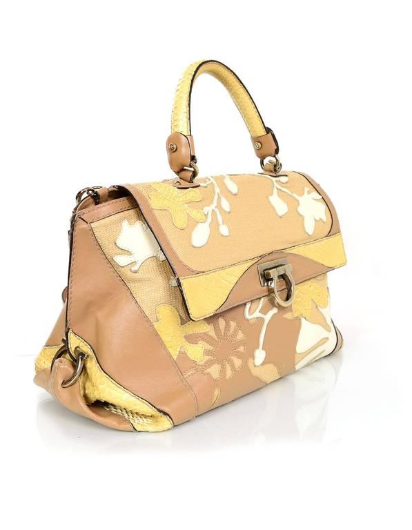 Salvatore Ferragamo Beige & Tan Sofia Satchel
