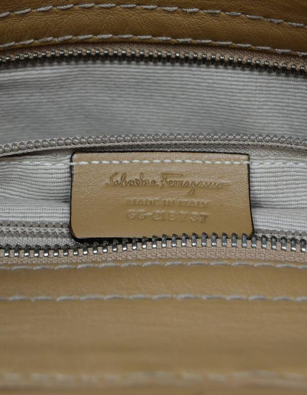 Salvatore Ferragamo Beige & Tan Sofia Satchel Bag BHW For Sale 5