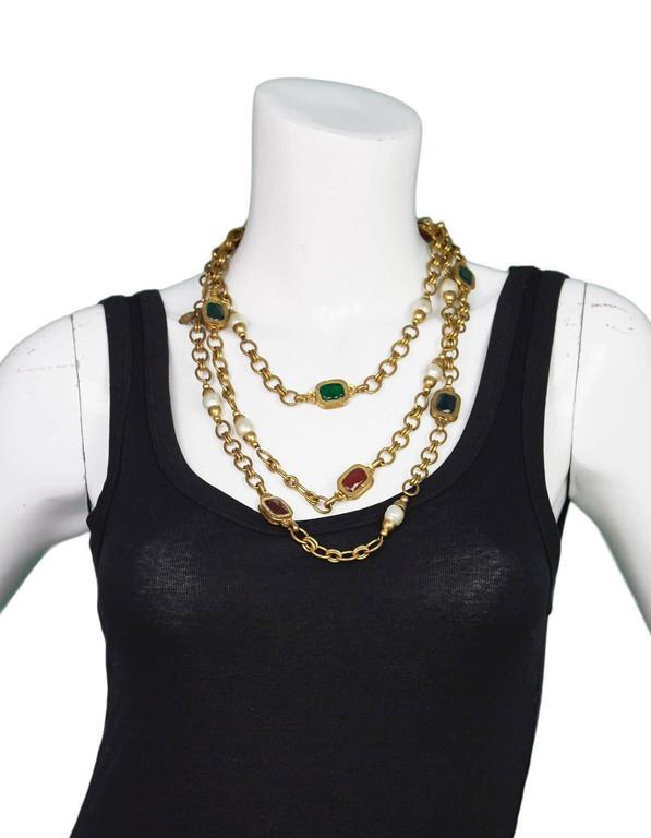 Chanel 1984 Vintage Chain Link & Gripoix Long Necklace For Sale 1