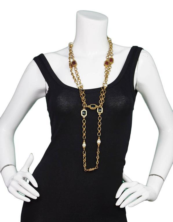 Women's Chanel 1984 Vintage Chain Link & Gripoix Long Necklace For Sale