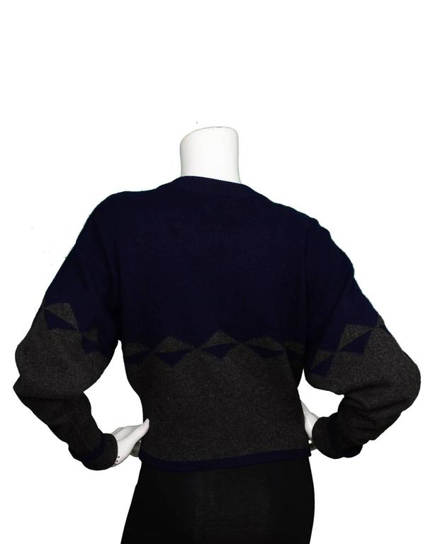 Chanel Navy and Grey Cropped Cashmere Cardigan Sweater For Sale at ...
