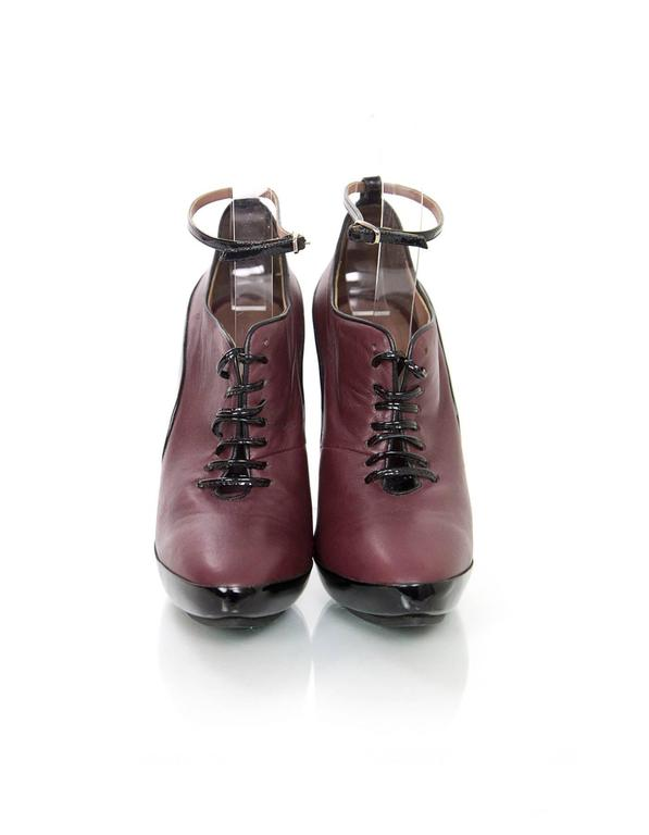 Tabitha Simmons Eggplant Leather Booties sz IT36.5 3