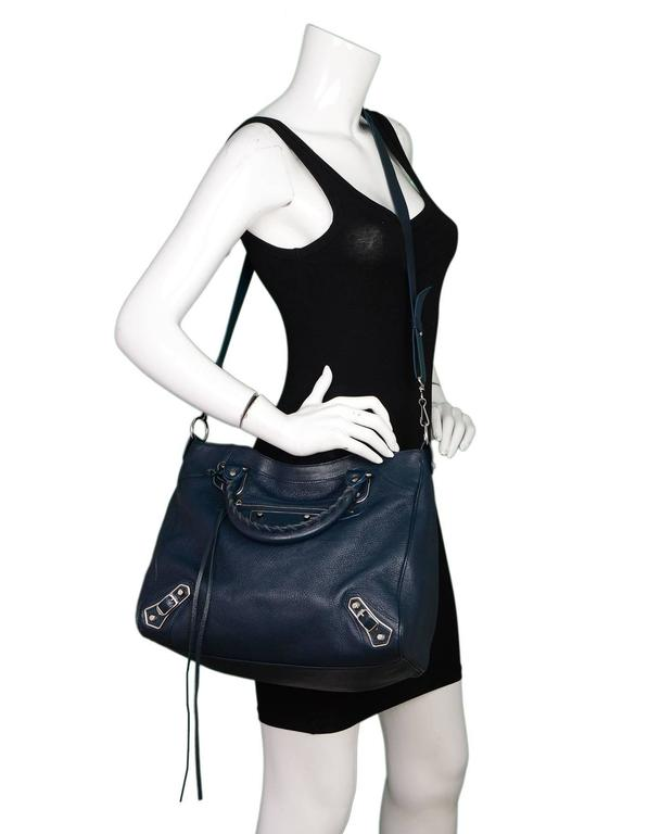 Balenciaga Blue & Silvertone Metallic Edge Messenger Satchel Bag  5
