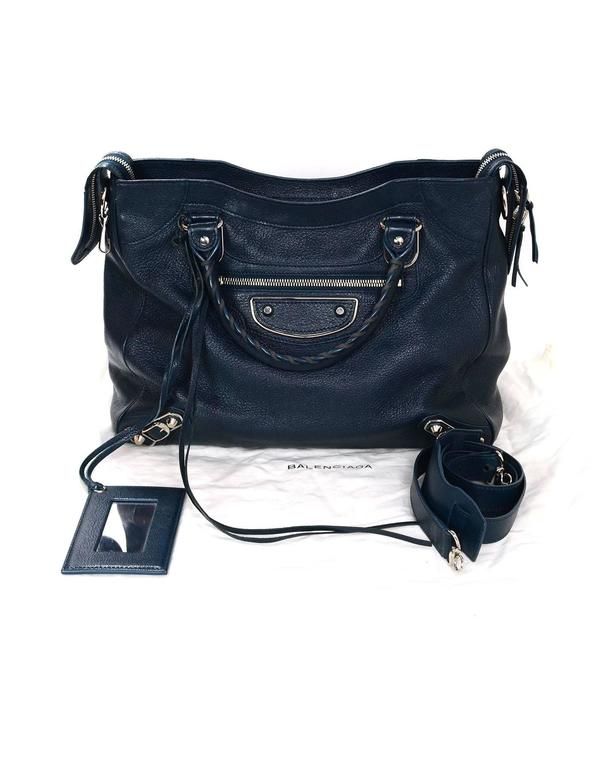 Balenciaga Blue & Silvertone Metallic Edge Messenger Satchel Bag  4