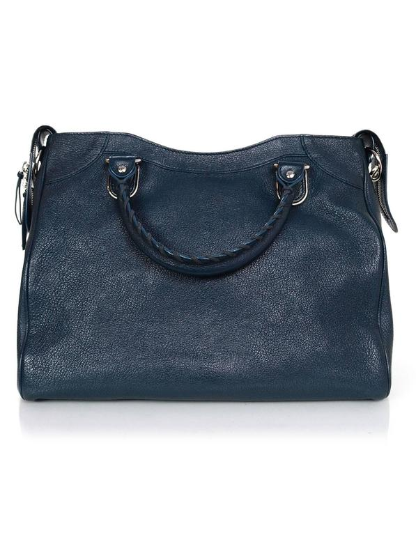 Black Balenciaga Blue & Silvertone Metallic Edge Messenger Satchel Bag
