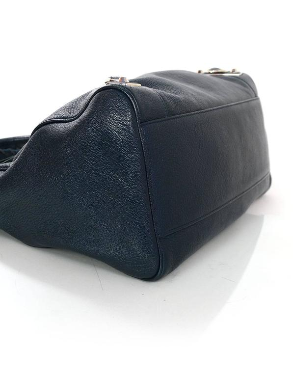 Balenciaga Blue & Silvertone Metallic Edge Messenger Satchel Bag  In Excellent Condition In New York, NY