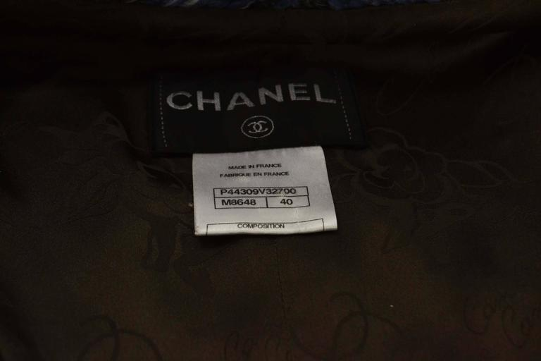 Chanel Blue & Grey Heavy Knit Sweater Coat sz FR40 5
