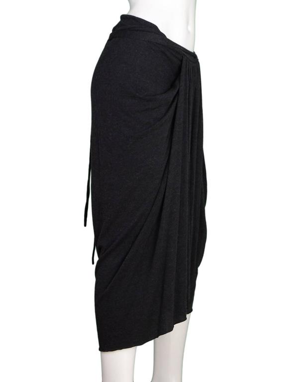 Rick Owens NEW Grey Draped Front Skirt  Features waist tie  Made In: France Color: Charcoal grey Composition: 30% nylon, 30% viscose, 20% angora, 20% wool Lining: None Closure/Opening: Pull on Exterior Pockets: None Interior Pockets: