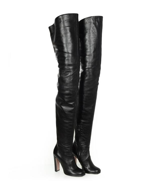 prada black leather thigh high heeled boots sz 37 w box