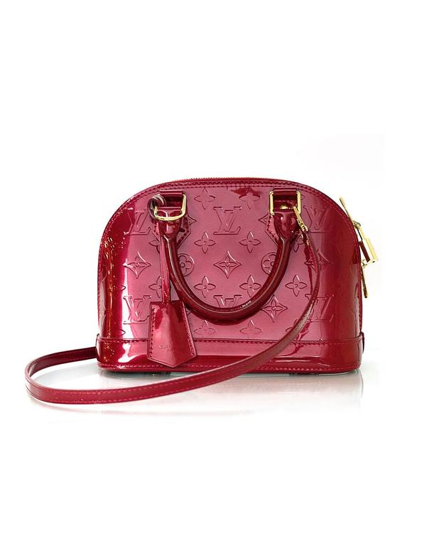 Louis Vuitton Red Monogram Vernis Alma BB Features optional shoulder crossbody  strap Made In  14a4ade7d1